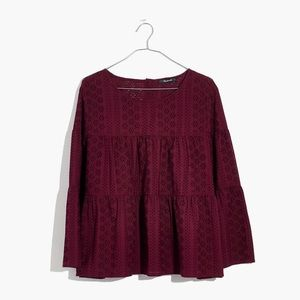Madewell Tiered Eyelet Button Back Top Pinot Noir